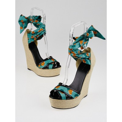 Gucci Teal Green/Orange Satin Carolina Heartbeat Wedge Sandals Size 7.5/38