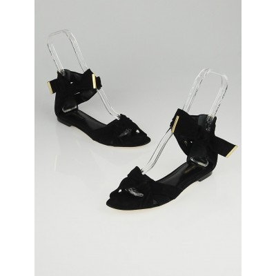 Louis Vuitton Black Suede Cocktail Flat Sandals Size 8/38.5