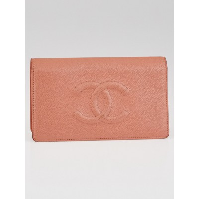 Chanel Pink Caviar Leather CC L Yen Wallet