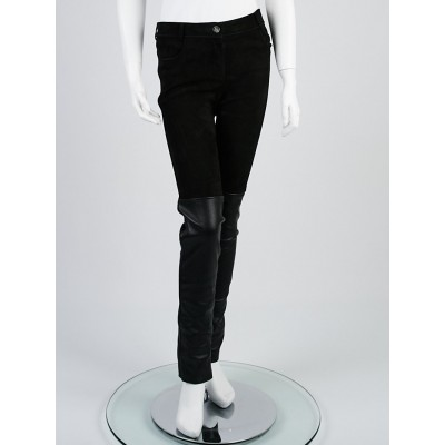 Chanel Black Lambskin Leather and Suede Skinny Pants Size 8/40