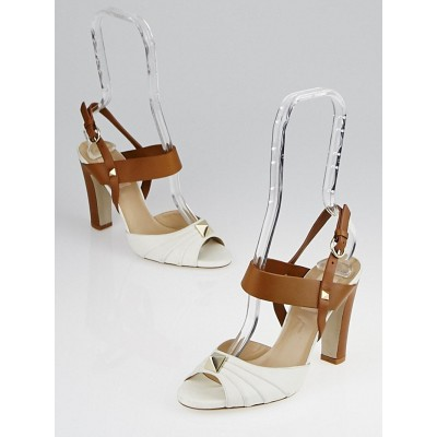 Valentino White and Brown Leather Studded Sandals Size 5.5/36