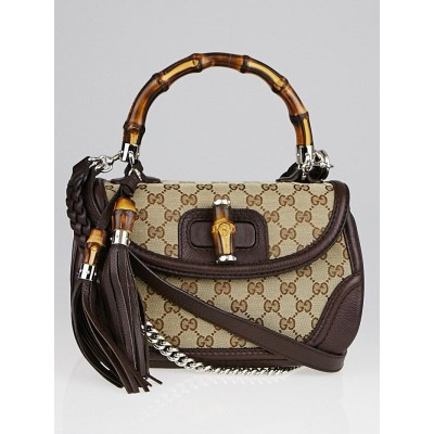 Gucci Beige/Ebony GG Canvas and Leather Medium New Bamboo Top Handle Bag