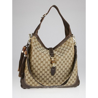 Gucci Beige/Ebony GG Canvas Bamboo New Jackie Large Shoulder Bag