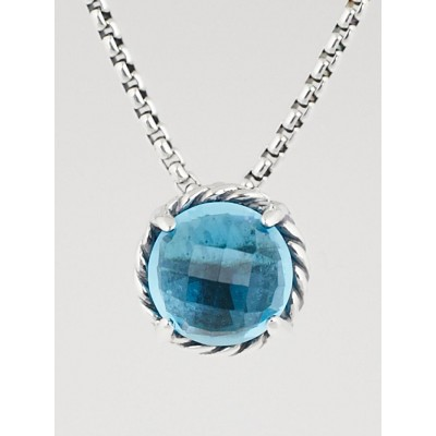 David Yurman Blue Topaz and Sterling Silver Chatelaine Pendant Necklace