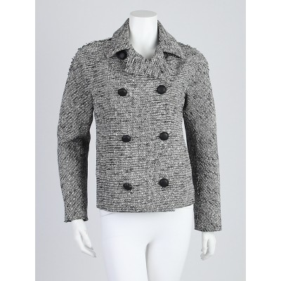 Balenciaga Black/White Silk Blend Tweed Blazer Jacket Size 8/40
