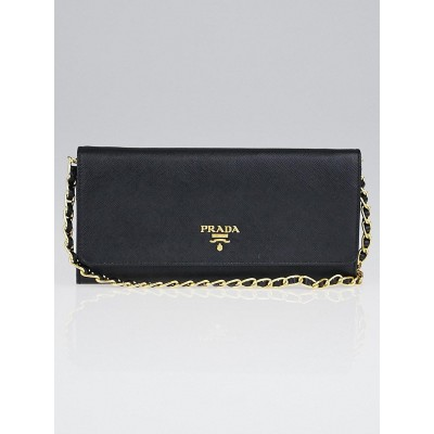 Prada Black Saffiano Metal Leather Wallet on Chain Clutch Bag 1M1290