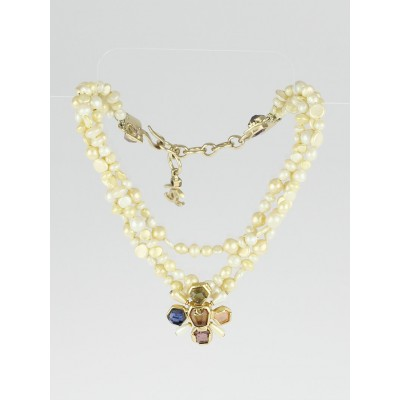 Chanel Faux Pearl and Crystal Triple Strand Necklace