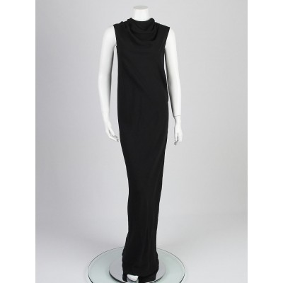 Rick Owens Black Viscose Blend Bonnie Gown Dress Size 8/42