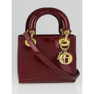 Christian Dior Red Patent Leather Micro Lady Dior Bag