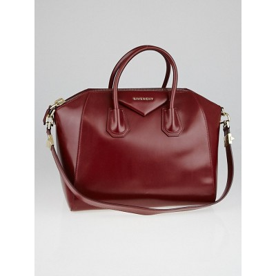 Givenchy Dark Red Box Calf Leather Medium Antigona Bag