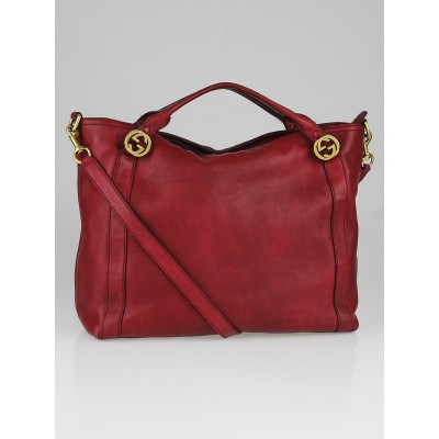 Gucci Red Distressed Leather Miss GG Top Handle Bag