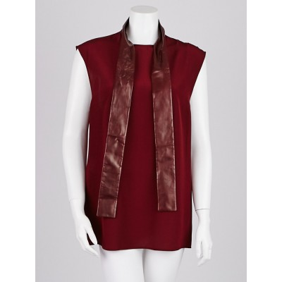 Gucci Burgundy Silk Leather Neck Tie Sleeveless Blouse Size 12/46