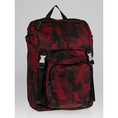 Prada Bordeaux Tessuto Camouflage Backpack Bag V135