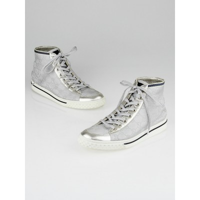 Gucci Silver GG Canvas High-Top Sneakers Size 9