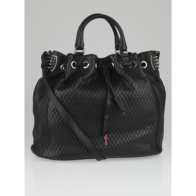 Christian Louboutin Black Quilted Leather Dompteuse  Spiked Bucket Bag
