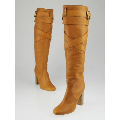 Chloe Natural Leather Prince Wrap Tall Boots Size 8.5/39