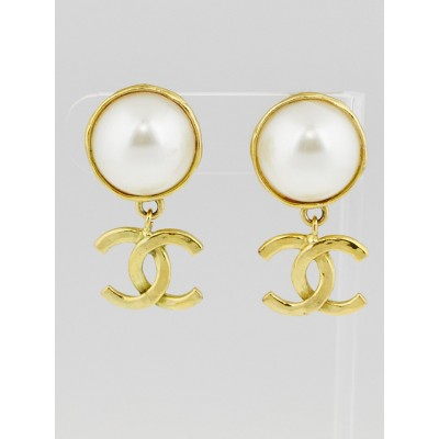 Chanel Faux Pearl and Goldtone CC Clip-On Drop Earrings