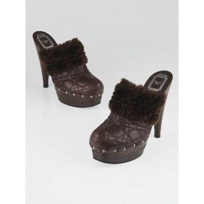 Christian Dior Brown Cannage Quilted Leather Ice Clogs Size 9.5/40