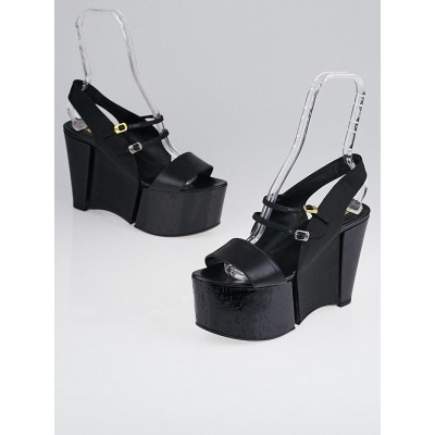 Fendi Black Leather Slingback Platform Sandals Size 10.5/41