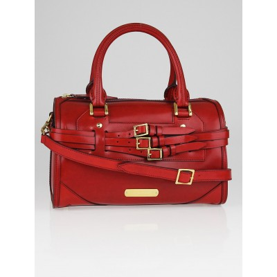 Burberry Red Leather Medium Bridle Bowling Bag