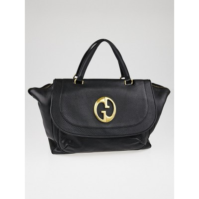 Gucci Black Pebbled Leather '1973' Large Top Handle Tote Bag