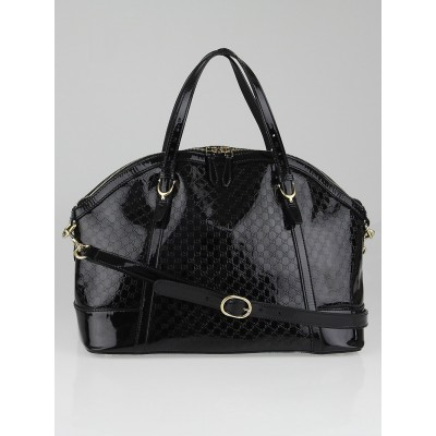 Gucci Black Microguccissima Patent Leather Nice Top Handle Bag