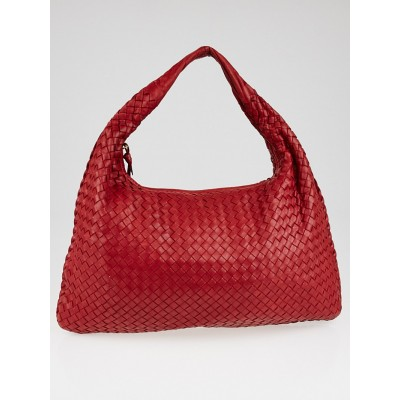 Bottega Veneta Red Intrecciato Woven Nappa Leather Large Veneta Hobo Bag