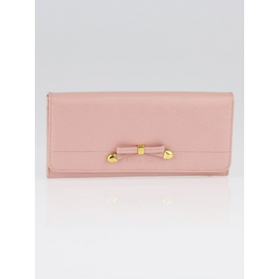 Prada Pink Saffiano Leather Bow Flap Wallet