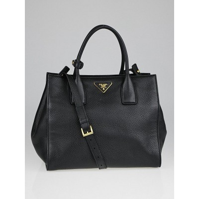 Prada Black Vitello Daino Leather Shopping Tote Bag BN2693