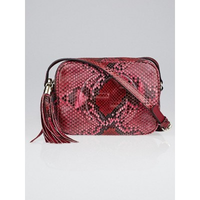 Gucci Pink Python Soho Disco Small Shoulder Bag