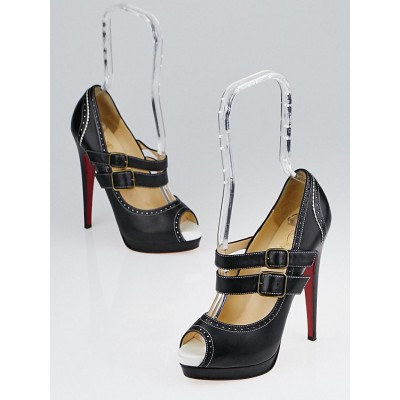 Christian Louboutin Black Leather Luly 140 Peep Toe Mary-Jane Pumps Size 6/36.5