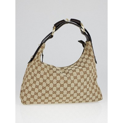Gucci Beige/Ebony GG Canvas Medium Horsebit Hobo Bag