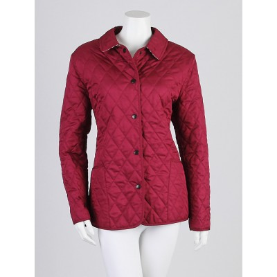 Burberry London Plum Diamond Quilted Polyester Jacket Size L