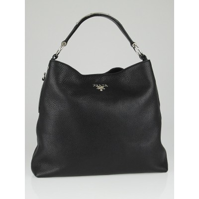 Prada Black Vitello Daino Leather Hobo Bag BR3980