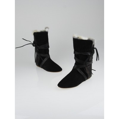 Isabel Marant Black Suede and Rabbit Fur Nia Flat Boots Size 8.5/39