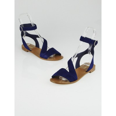 Prada Navy Blue Suede Ankle Wrap Flat Sandals Size 9.5/40