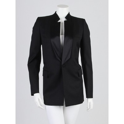 Givenchy Black Wool and Silk Tuxedo Blazer Jacket Size 0/34