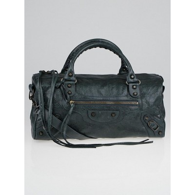 Balenciaga Anthracite Lambskin Leather Motorcycle Twiggy Bag