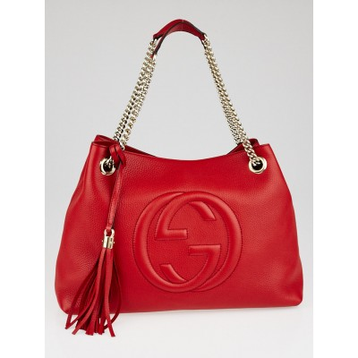 Gucci Red Pebbled Leather Soho Chain Tote Bag