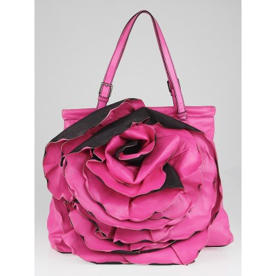 Valentino Pink Nappa Leather Petale Rose XL Frame Top Tote Bag