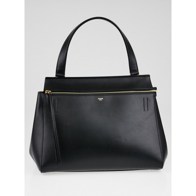 Celine Black Smooth Leather Medium Edge Shoulder Bag