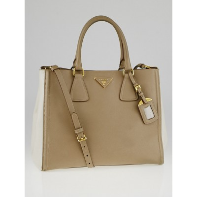 Prada Visone/Talco Saffiano Lux Leather Tote Bag BN2438