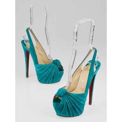 Christian Louboutin Turquoise Suede Miss Benin 160 Peep Toe Pumps Size 6.5/37