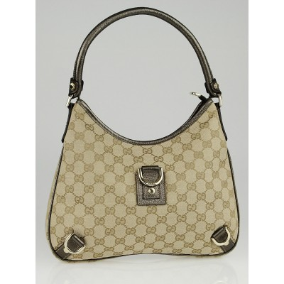 Gucci Beige/Gold GG Canvas Abbey Medium D-Ring Hobo Bag