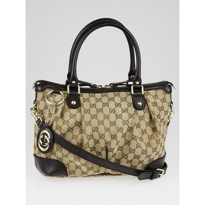 Gucci Beige/Ebony GG Canvas Sukey Top Handle Bag