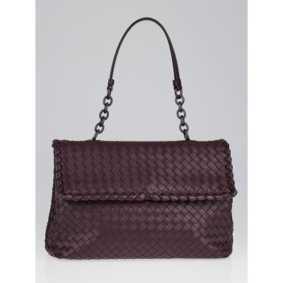 Bottega Veneta Aubergine Intrecciato Woven Nappa Leather Olimpia Bag