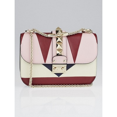 Valentino Pink/Burgundy Multicolor Rockstud Glam Lock Flap Bag