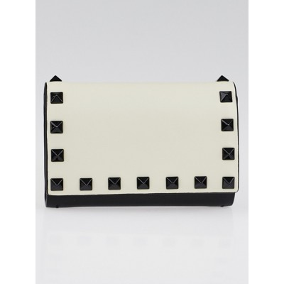 Valentino Black/Ivory Leather Rockstud Wallet