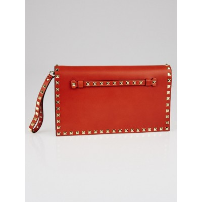 Valentino Orange Nappa Leather Rockstud Clutch Bag