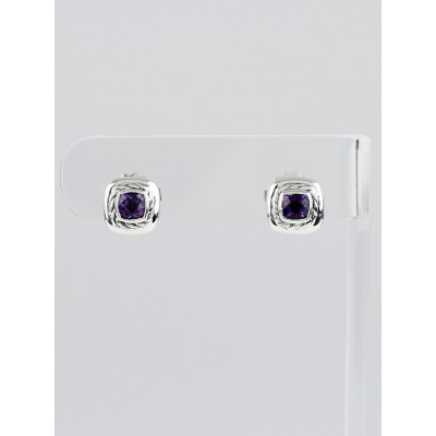 David Yurman Sterling Silver and Amethyst Cable Classics Stud Earrings